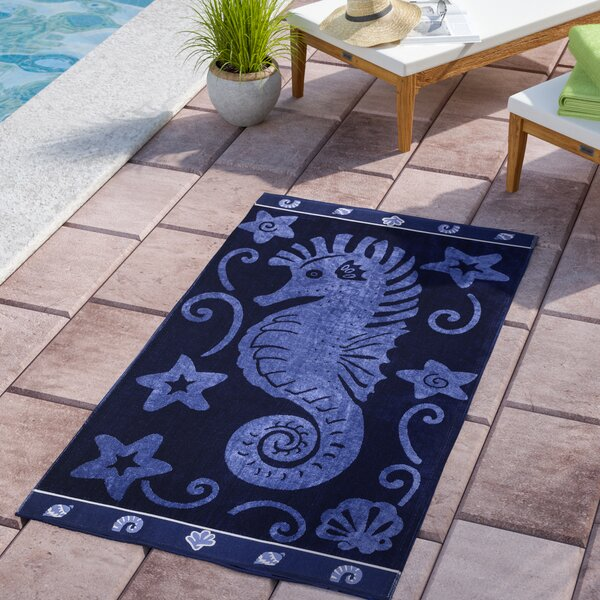 Sea Horse 100% Cotton Beach Towel by Andover Mills